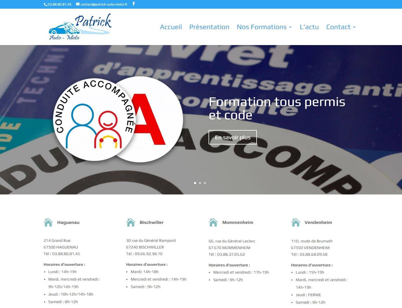 Site CMS Patrick Auto Moto, réalisé par e-novea